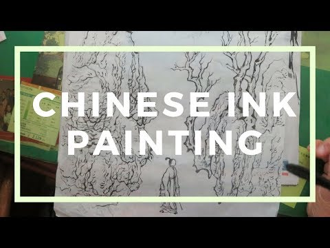Chinese ink painting – my father's landscape painting on Xuan paper