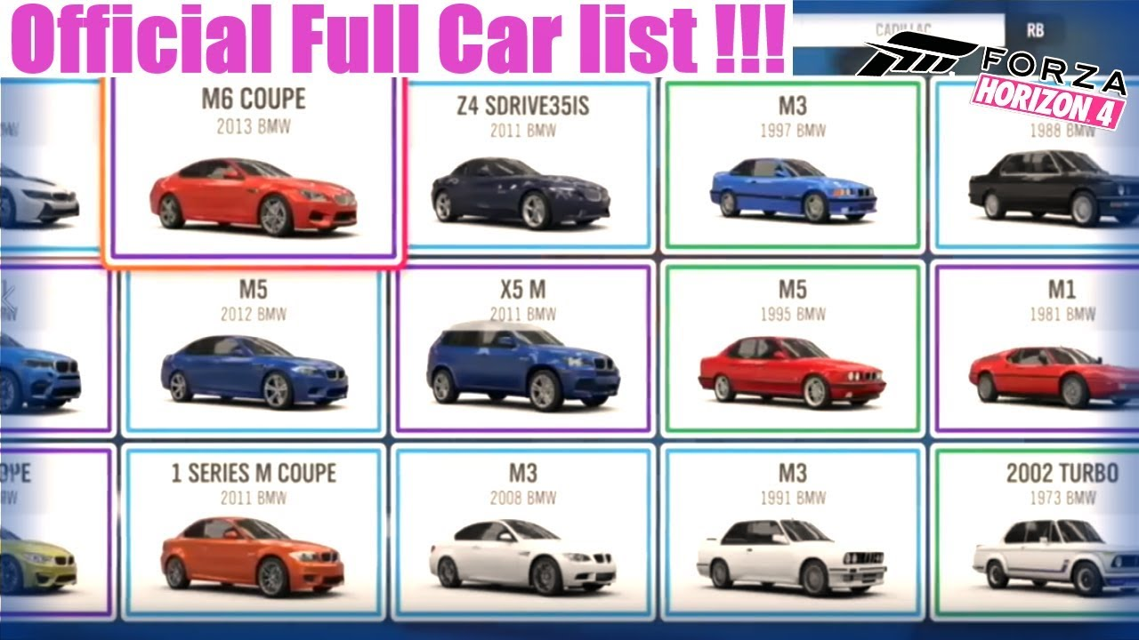 Fh4 Car List forza horizon 4 | [fh4] official full car list!!! awesome new cars incoming  !!!