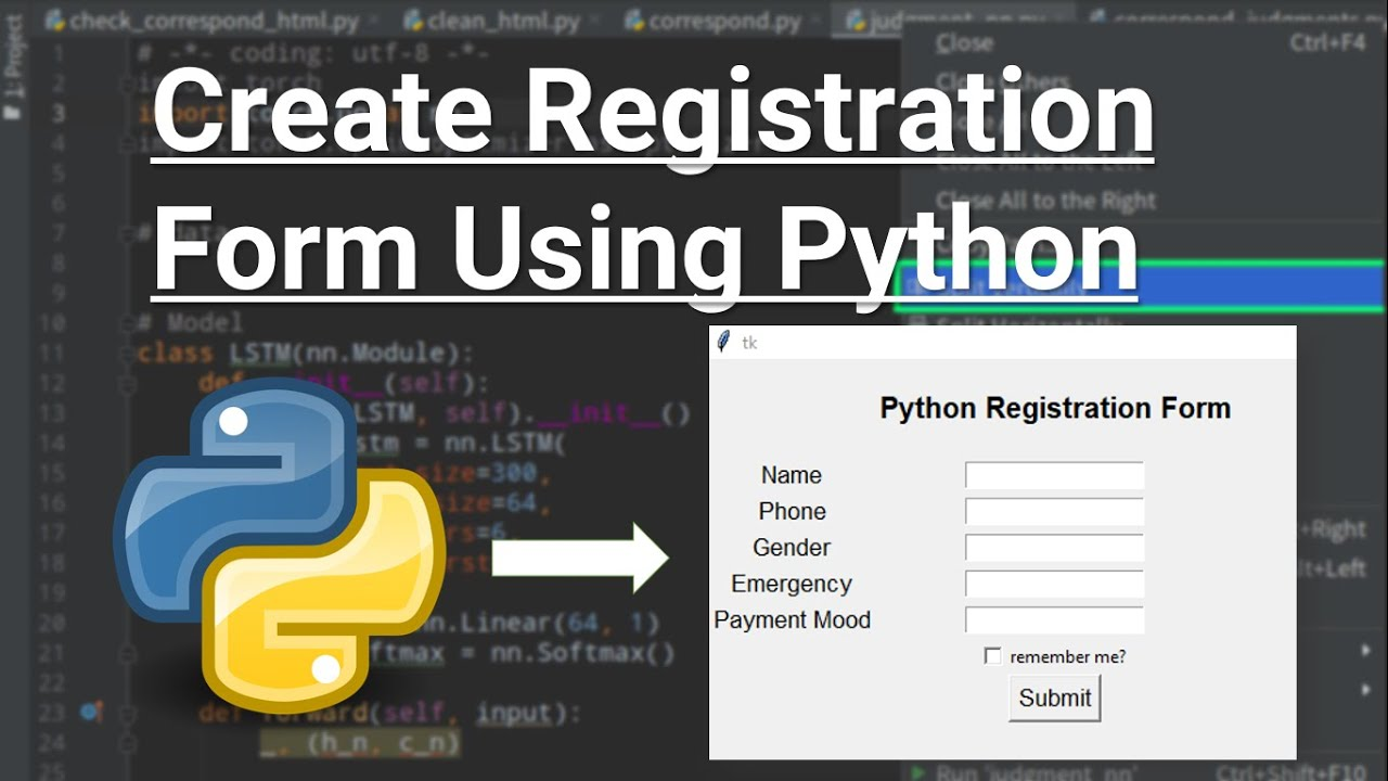 Create Registration Form or Login Form With Python