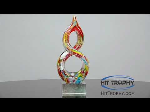 Colorful Helix Art Glass Award 2270 with Free Engraving