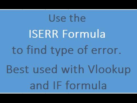Learn Excel  Iserr Formula