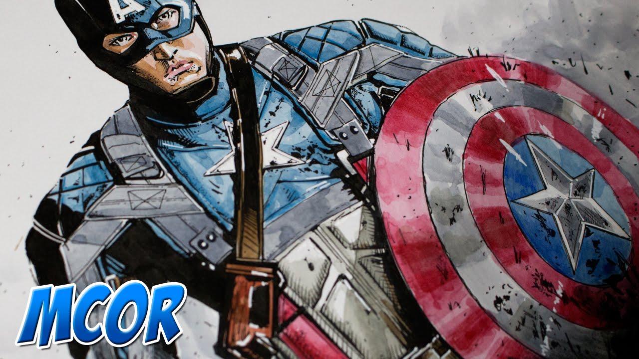 Dibujando al Capitán America Civil War - Acuarela - Marvel - YouTube