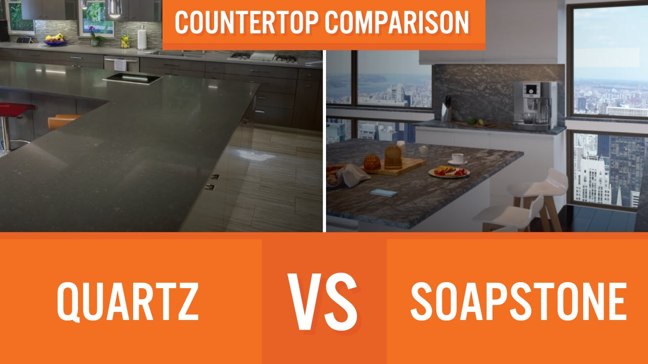 Quartz vs Soapstone | Countertop Comparison - YouTube on kitchen countertops, metal countertops, quartz countertops, corian countertops, paperstone countertops, silestone countertops, granite countertops, marble countertops, solid surface countertops, bamboo countertops, copper countertops, concrete countertops, obsidian countertops, slate countertops, black countertops, gray limestone countertops, butcher block countertops, agate countertops, stone countertops, hanstone countertops,