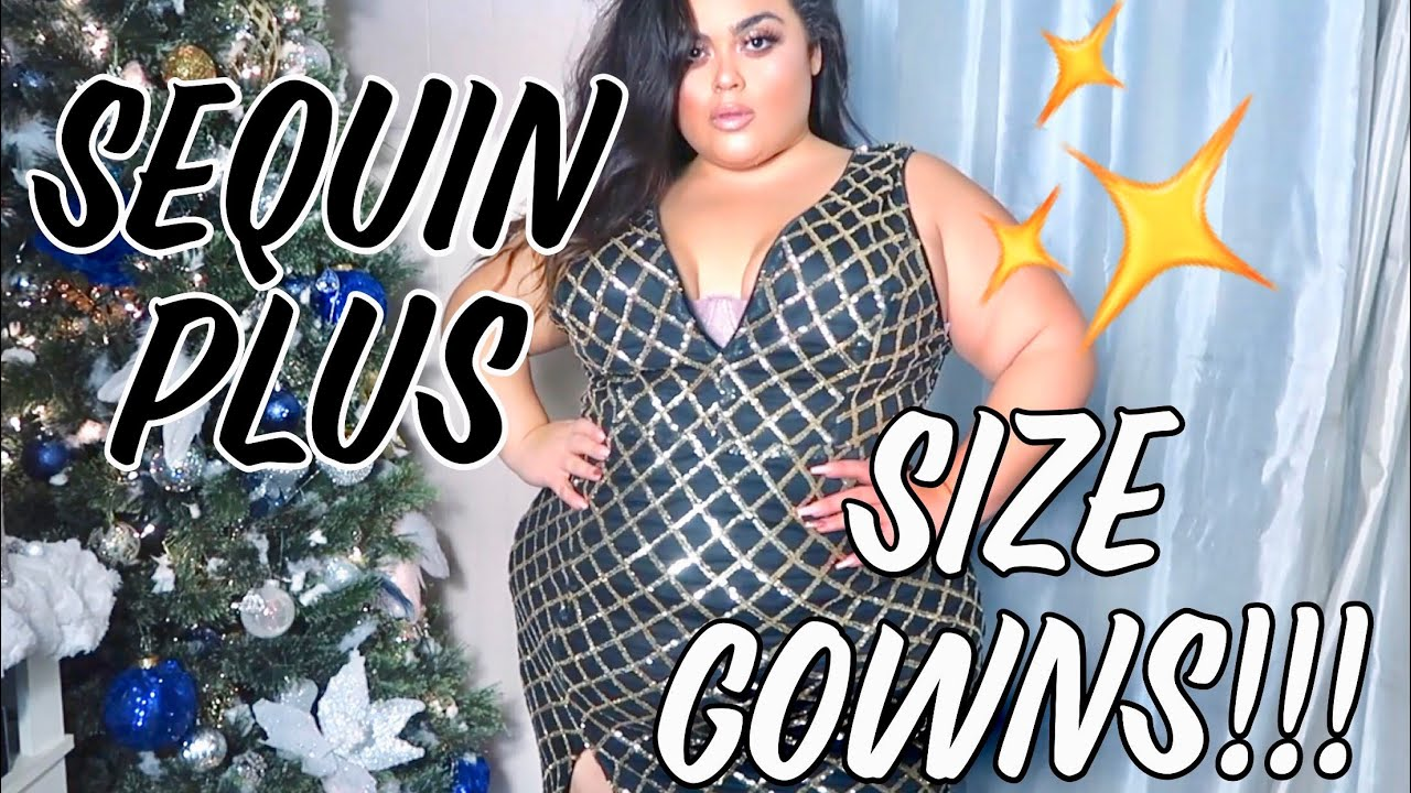 PLUS SIZE HOLIDAY SEQUIN GOWNS✨WINDSOR TRY ON HAUL ...