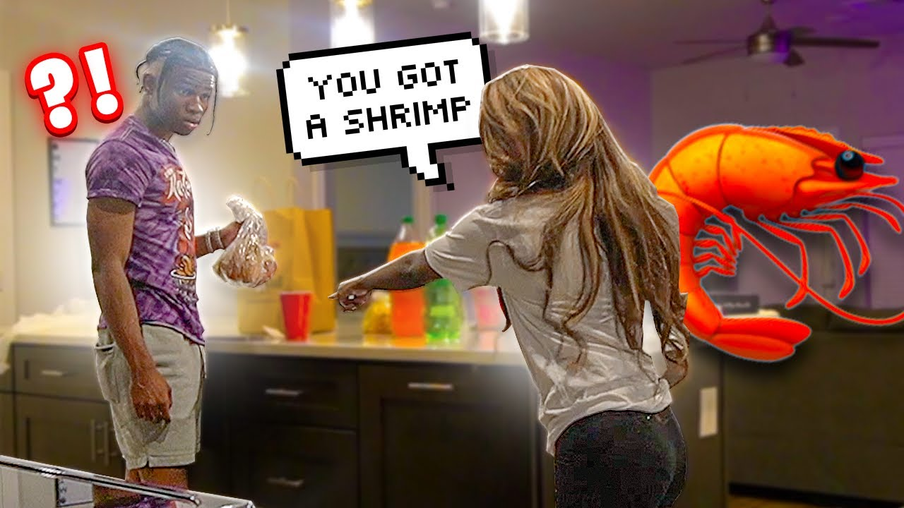"""Telling My Friend, Ted Has A """"Shrimp"""" In Front Of Him To See How He Reacts..."""