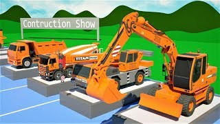 Trucks Construction Collection Show - Dump Truck, Mixer Truck, Bulldozer for Kids