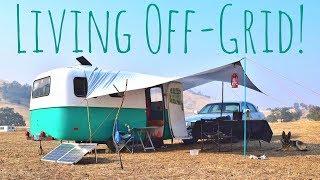 Off Grid Basecamp Setup (Simple & Efficient) 16ft Scamp Travel Trailer