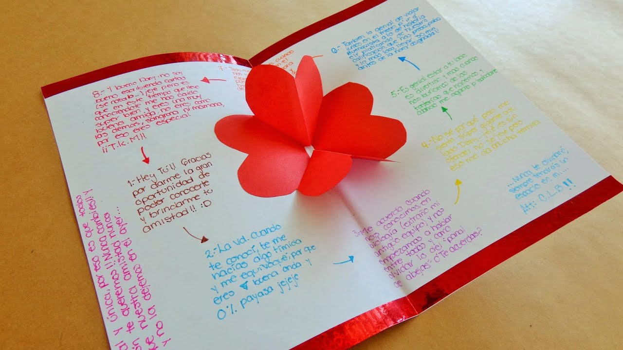 Tarjeta de corazones 3d pop up tarjetas para san - Postales dia de san valentin ...