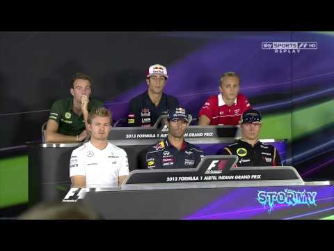 "F1 2013 Indian Grand Prix FUNNY Kimi Raikkonen on going to Ferrari ""Uhh good...."""