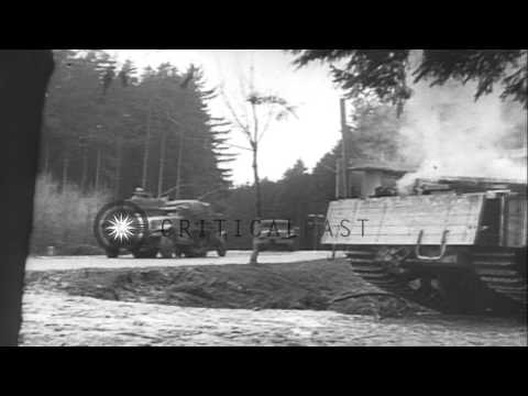 US 3rd infantry troops advance in valley of Germany under heavy firing and use mo...HD Stock Footage
