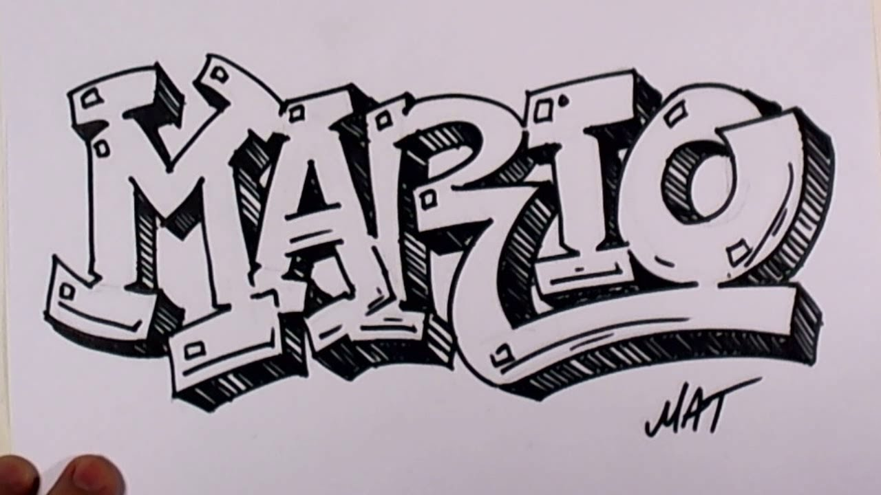 Graffiti Writing Mario Name Design  Names Promotion Mat Youtube
