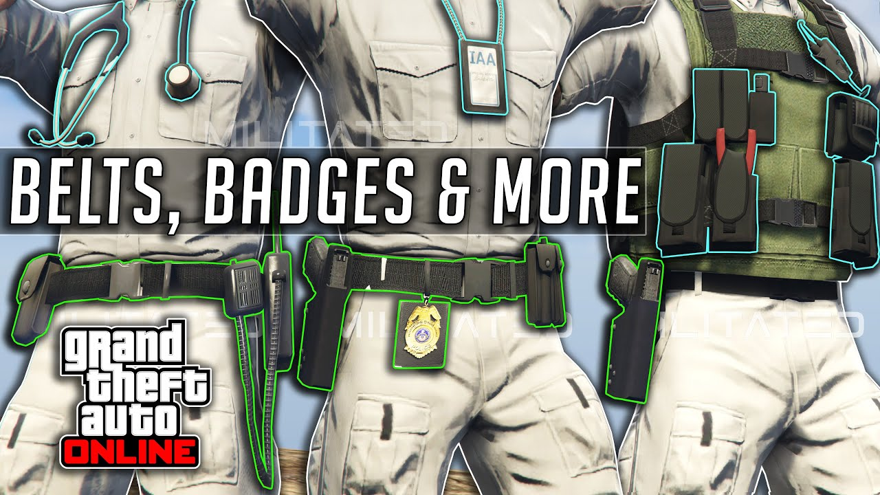 GTA 5 Online How To Get Cop/Medic belt/Gun Holster & IAA Badges After Patch 1.50 Clothing Glitches