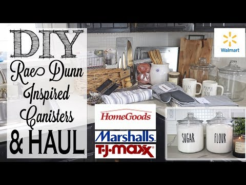DIY Rae Dunn Inspired Canisters   Kitchen Accessories Haul   Home Goods, TJ Maxx, Marshalls, Walmart