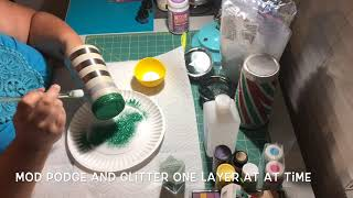 Glitter tumbler tutorial: horizontal stripes