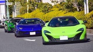 【大黒PA】スーパーカー加速サウンド/Supercars sound in Japan. 675LT, Aventador, Launch Control GT3, AMGGTR, and more