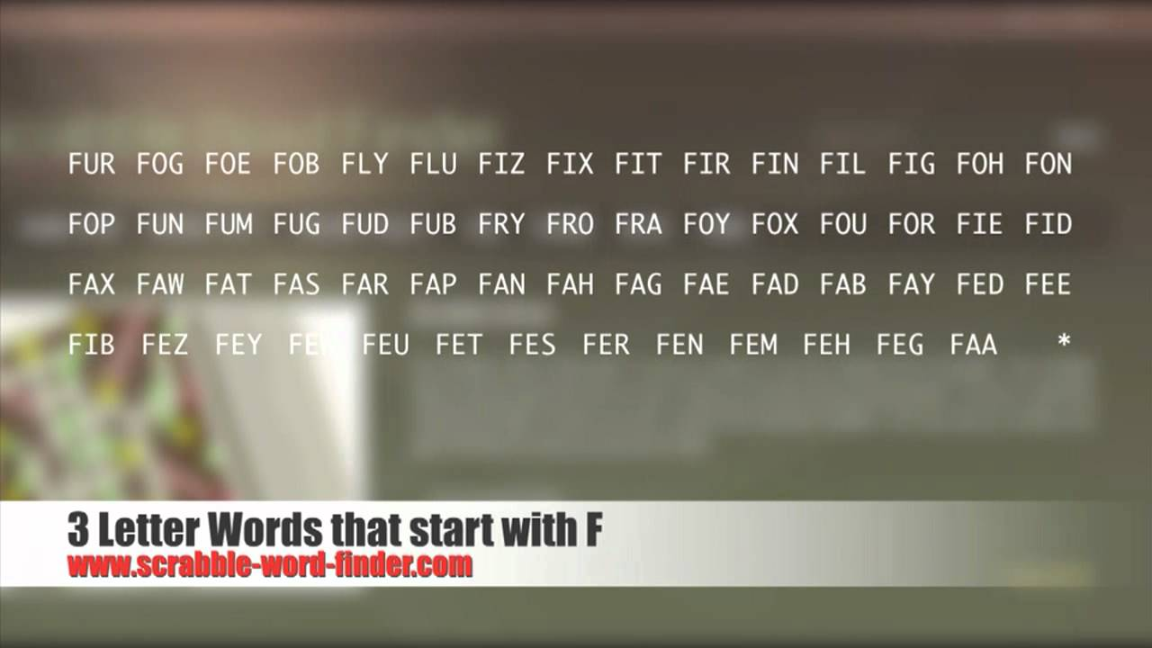 3 letter words that start with F   YouTube