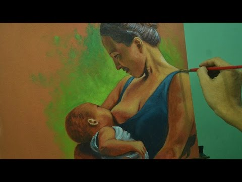 Acrylic Painting Lesson - Mother and Child by JM Lisondra