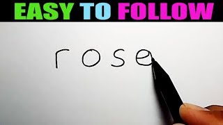 How to draw a rose with the word rose (EASY TO FOLLOW)