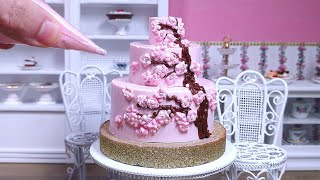Miniature Edible Pink Chocolate Cherry Blossom Cake 🌸 桜のミニケーキ - Mini Food ASMR