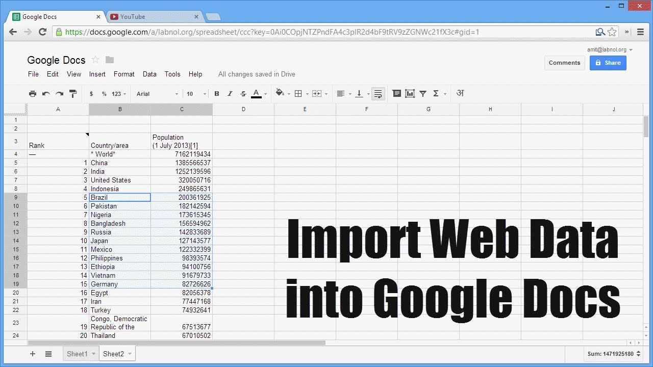 Import HTML in Google Docs