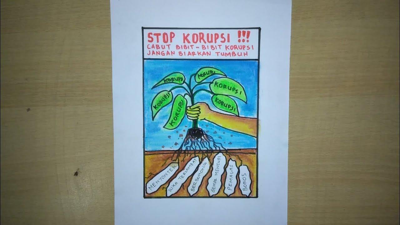 Cara Membuat Poster Gambar Tema Anti Korupsi