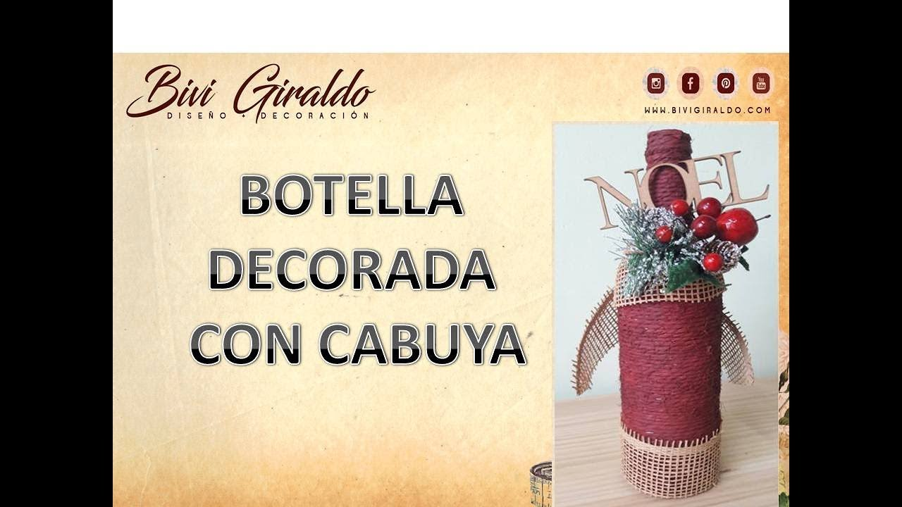 Como decorar botellas de vidrio con cabuya manualidades - Como decorar botellas de vidrio ...