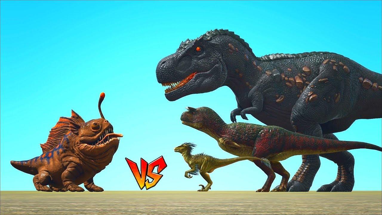 Ark Survival Giant Bulbdog Vs Raptor Carno Trex Ep