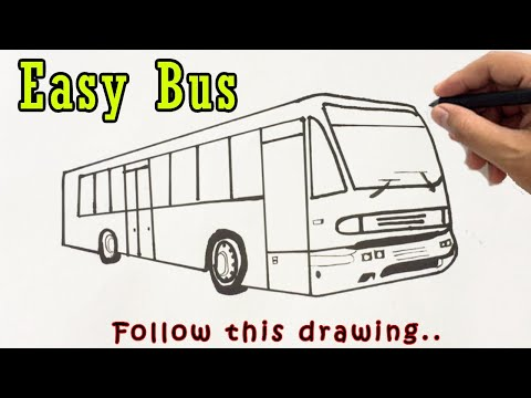 Bus Drawing Easy | How to Draw a Bus Step by Step Outline Tutorial