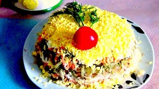 Салат с куриной печёнкой слоёный легко и просто