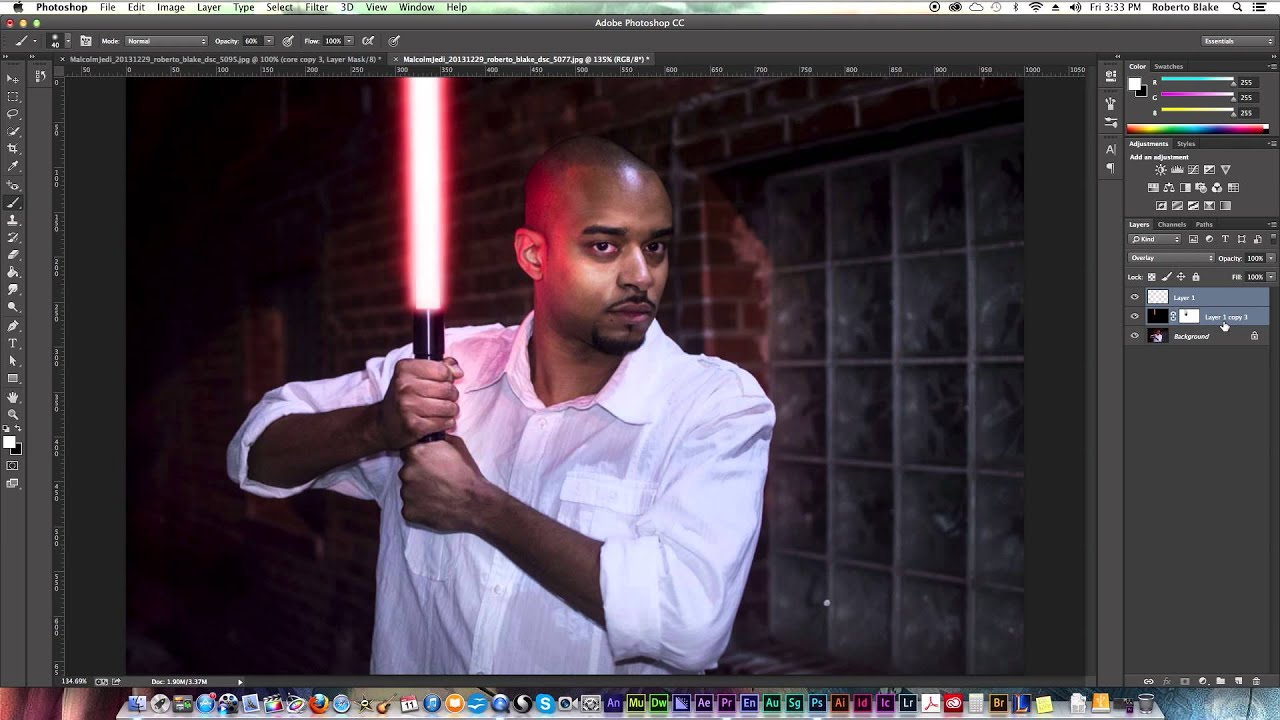 Photoshop starwars lightsaber effect tutorial photoshop cc youtube baditri Images