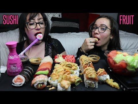 SUSHI AND FRUIT MUKBANG | EATING SHOW | Q & A