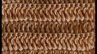 Узор Столбики с накидом из задней нити петли основания - Crochet pattern