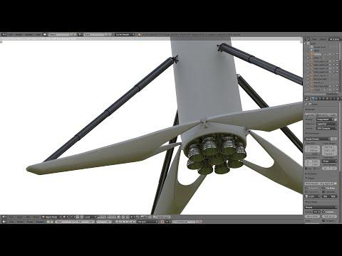 Blender 3D - Multi Cylinder Suspension (ex. SpaceX Falcon 9 Landing Leg)