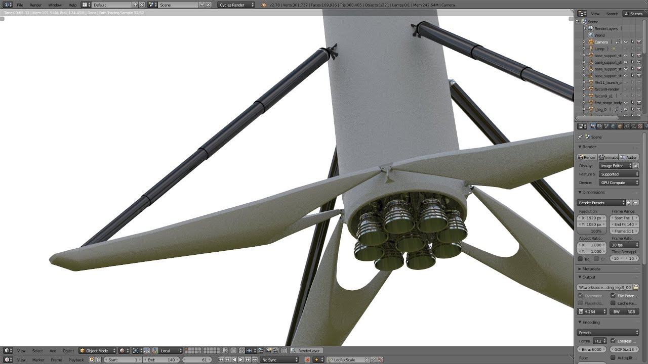 blender 3d multi cylinder suspension ex spacex falcon 9 landing leg