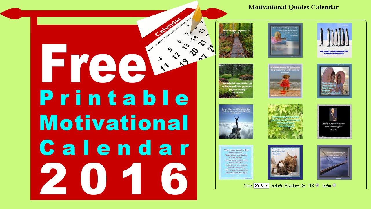 Free Printable Motivational Calendar Youtube