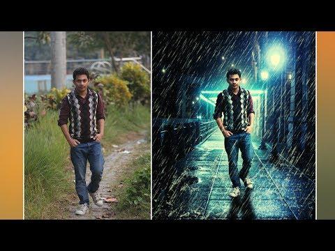Photoshop Tutorial : Rain Effect - Changing Background -  Photo Manipulation