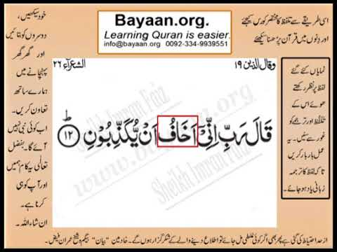 Quran in urdu Surrah 026 Ayat 012 Learn Quran translation in Urdu Easy Quran Learning