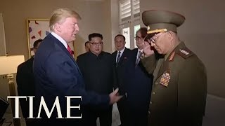 north korea airs video footage showing president trump saluting an officer time