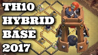 Clash of Clans TH10 Town Hall 10 Hybrid Base WITH THE BOMB TOWER Anti Valkyrie 275 Walls 2017