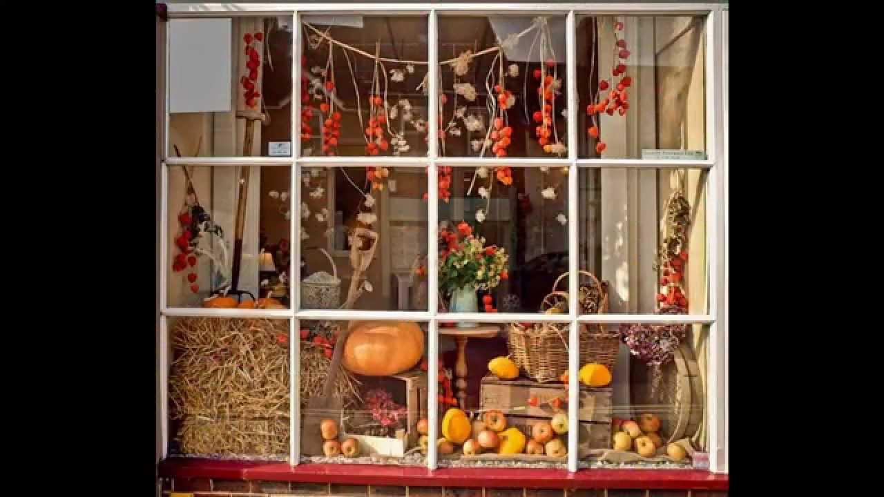 Fall window display decorating ideas - YouTube