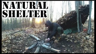 Building A NATURAL SHELTER In The WOODS - Overnight Camp