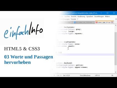HTML5 & CSS3 03: Worte Und Passagen Hervorheben