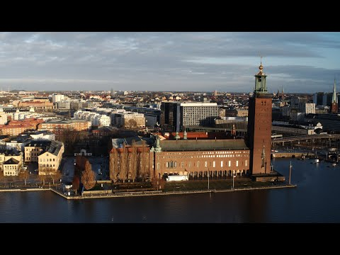5617. Stadshuset (Stockholm City Hall) Drone Stock Footage Video