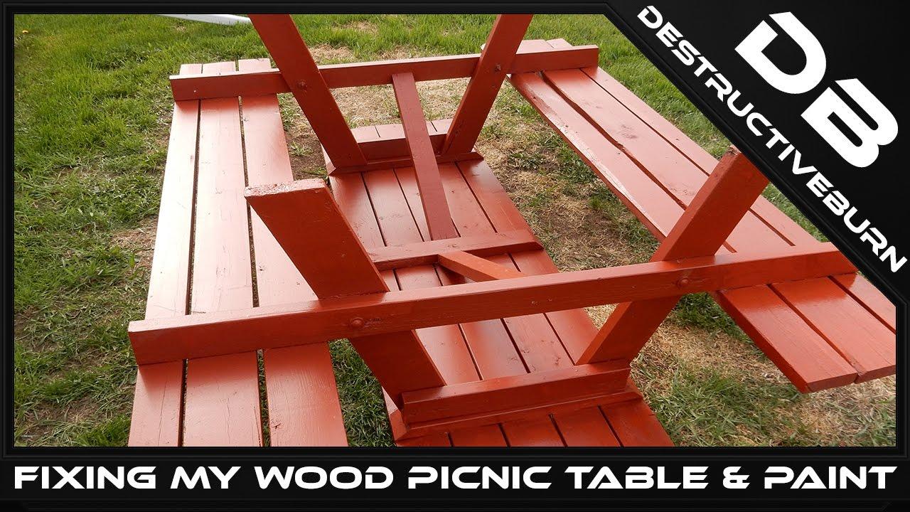 Fixing My Wood Picnic Table U0026 Paint