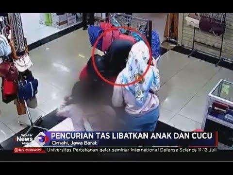 [Rekaman CCTV] Satu Keluarga Lakukan Pencurian Tas di Cimahi