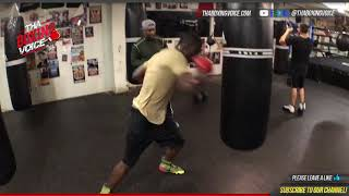 Mayweather Promotions Richardson Hitchins on Heavy Bag as He Prepares For Charlo vs. Lubin Undercard