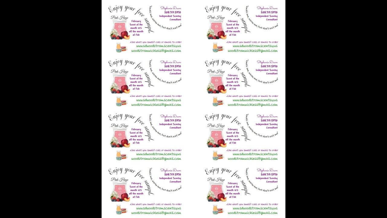 Exceptional MY Scentsy Labels/Tags/Sample Labels Using Avery T   YouTube  Free Address Labels Samples
