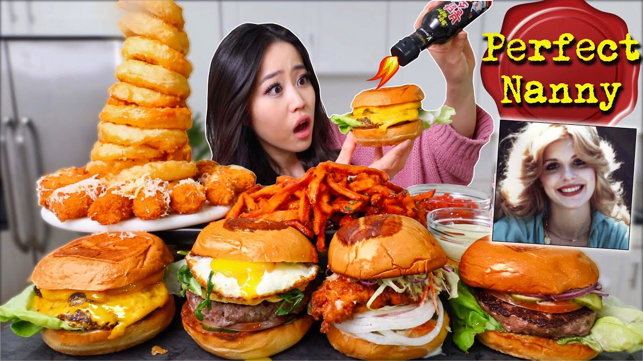 Download NUCLEAR HOT SAUCE?! On Cheesy Burgers + Cheese Tots + ONION RING TOWER MUKBANG 먹방 | Eating Show