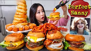 NUCLEAR HOT SAUCE?! On Cheesy Burgers + Cheese Tots + ONION RING TOWER MUKBANG 먹방 | Eating Show