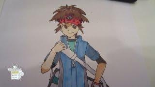 How to draw Pokemon Black & White 2 Hero Character: Boy キョウヘイ